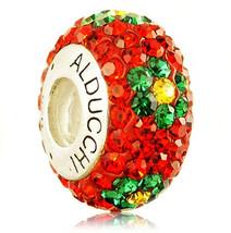 Alducchi Ruby Red -Emerald Swarovski Crystal 925 Silver European Charm Bead - $25.95