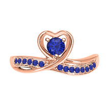 Round Cut Blue Sapphire 14k Rose Gold Over 925 Silver Lovely Heart Promise Ring - $50.57