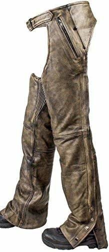 Primary image for Dream MEN'S MOTORCYCLE PANT REMOVABLE LINER DISTRESSED LEATHER CHAP WITH 4 POCKE