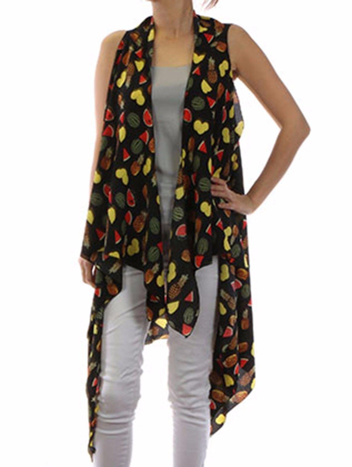 Tropical Fruit Print Cover Up Vest Beach Swim Suit Wrap Black / Pineapple