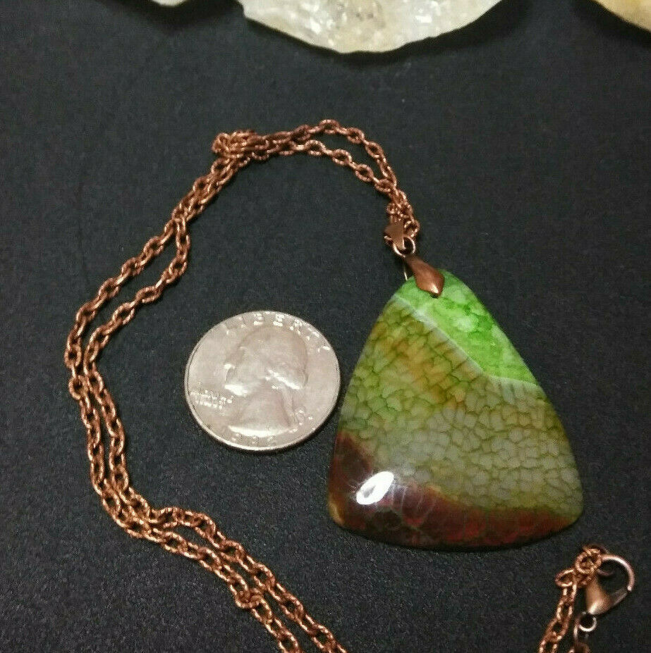 Necklace, Green Quartz Dragon Vein Pendant Copper Chain Natural Stone Women Men  image 6