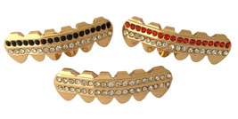 14k Gold Plated Mouth Teeth 3pc Lower Bottom Grillz Set - Rows of Bling - $9.49