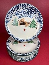 "8 Culinary Arts Holiday Wilderness Salad Plates Christmas Trees 7.5"" - $26.32"