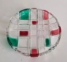 Mid Century Vintage Red Green & Clear Glass Geometric Pattern Round Reli... - $15.00