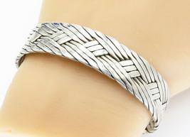 MEXICO 925 Sterling Silver - Vintage Basket Weave Designed Cuff Bracelet... - $128.16