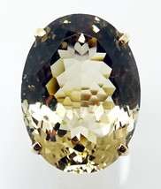 Large 14k Gold Oval Genuine Natural Smoky Quartz Ring (#J3477) - $495.00