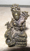 "Vintage Hindu Brass Seated Tara 1.5"" Collectible Statue Sculpture - $21.95"