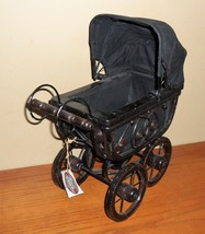 Victorian Black WICKER & Wire Display Baby CARRIAGE w Folding CANOPY~15... - $30.00