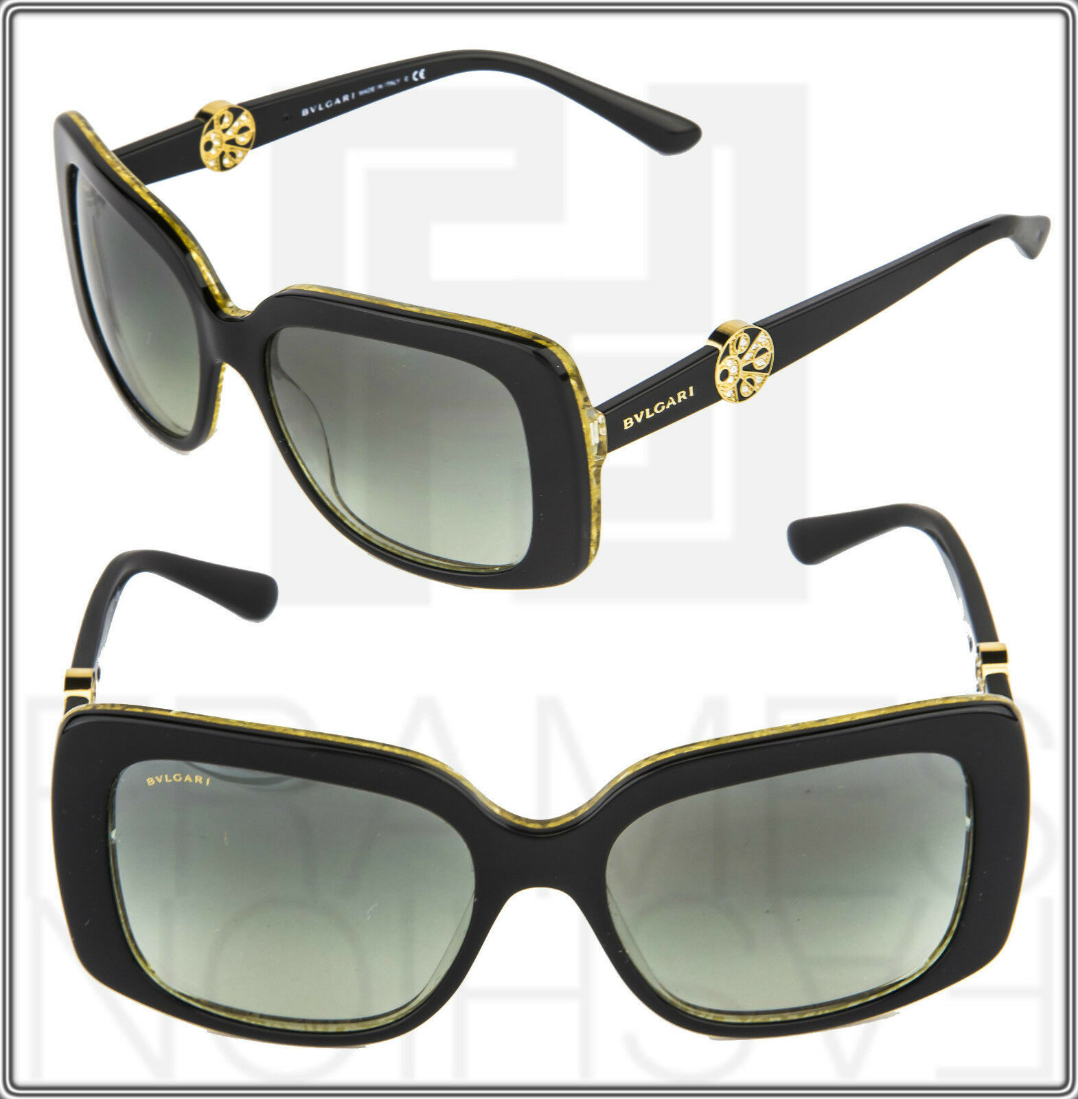 BVLGARI INTARSIO 8146B 5325/11 Black Gold Sunglasses 8146 Square Women Gradient