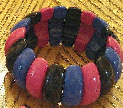 Avon Plastic Stretch Elastic Bracelet BOLD Blue Pink & Black unsigned VTG 1980s