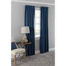 "NWT 42""x95"" Blue dotted  Room Darkening Rod Pocket Curtain Panel Mainstays - $15.63"