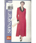 See And Sew Sewing Pattern 6805 Misses Womens Dress Butterick Size 14 16... - $6.99