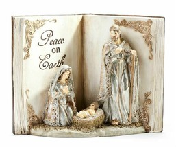 Holy Family in Open Book Figurine w PEACE ON EARTH Sentiment 3D NEW