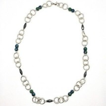 Necklace the Aluminium Long 60 Inch with Hematite Faceted and Crystal image 2