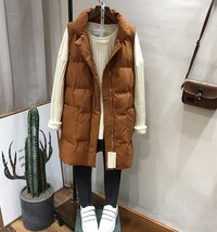 New brown warm long padded winter vest with pockets cozy sleeveless wais... - $46.00