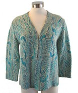 M PERUVIAN CONNECTION Oatmeal Turquoise Teal Blue Pima Cotton Cardigan - $89.09