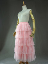 PINK TIERED Tulle Skirt Lady High Waist Tiered Tulle Party Skirt Princess Outfit image 6
