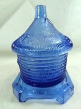 Boyd Glass Beehive Honey Jar Pot Blue Violet Glass  - $25.71
