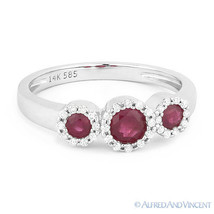 0.54ct Round Cut Red Ruby & Diamond Pave Three-Stone Halo Ring in 14k Wh... - €582,02 EUR