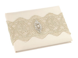 Gold Lace Guest Book and Pen Ivory Wedding or any event guest signing - $28.71