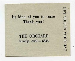 The Orchard Ruislip England Hat Check 1950's Like Hell Its Yours, Put it... - $27.72