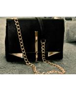 Nicole Miller Ladies Pebble Faux Leather Black/Gold Crossbody Purse NWT  - $26.01