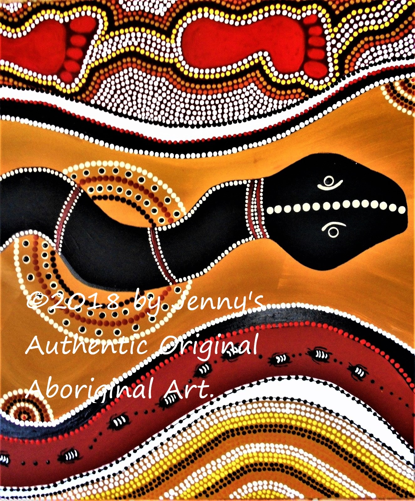 Authentic Aboriginal Acrylic Dot Painting On And 50 Similar Items