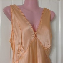 Vtg Trillium 30s 40s Nightgown Women's 40 Silk Peach Long Satin Bias Cut... - $178.19