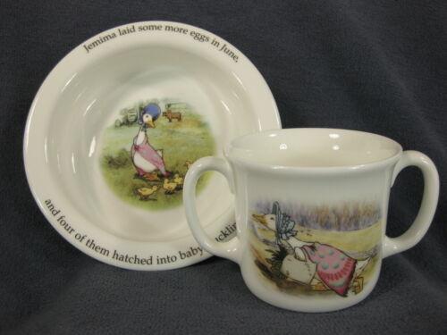 Royal Doulton Childs 2 Handled Cup & Bowl Beatrix Potter Jemima Puddleduck