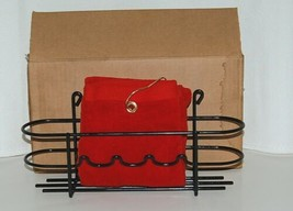 MHP Red Towel with Clip Black Plastic Coated Accessory Rack image 1