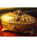 ANTIQUE ART NOUVEAU JEWELRY BOX OVAL CAST METAL FOOTED ROSES - $39.99