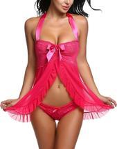 Women Nightwear Lace Babydoll Strap Chemise Halter Lingerie Set image 9