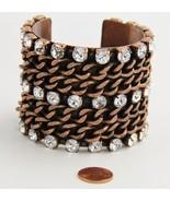 80s ESTATE VINTAGE Jewelry COPPER CURBED CHAIN & RHINESTONE CHUNKY CUFF ... - $63.75