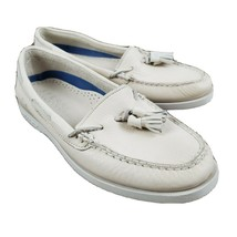 Sperry Top Sider Womens Tassel Boat Shoe 9M White Ivory Pebble Leather M... - $16.99
