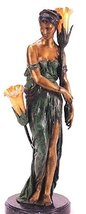 """32H """"Egyptian Girl"""" (Right Facing) Solid Bronze Sculpture Lamp - by Colinet - $1,567.02"""