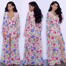 Chic Floral Print Bohemian Romper Women Beach Dress - $27.96