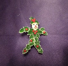 Vintage Beatrix Enamel Holly Leaf Snowman Christmas Festive Brooch - $44.55
