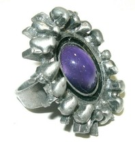 Lysgards Denmark Hand Made Pewter Large Brutalist Purple Vintage Estate Ring - $75.00