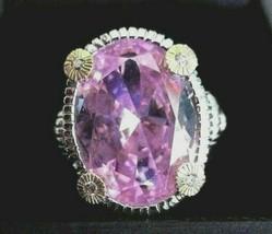 Judith Ripka Pink Crystal Sterling Silver 18K Gold w/Diamonds sz 6 Gift ... - $209.95