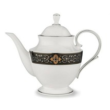 Lenox Vintage Jewel Platinum Banded Bone China Coffee Teapot Server - $198.00
