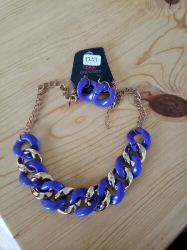 Primary image for 1207 GOLD & PURPLE CHAIN LINKS NECKLACE SET (new)