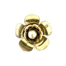 Gold Toned Metal Brooch Pin, Flower With Pearl Center Accent, 32mm - $20.00