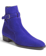 New Men Handmade Jodhpurs Boots, Men Ankle High Royal Blue Suede Formal ... - $169.97