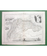 TALLIS MAP Antique Original 1851 - VENEZUELA Guyanas Equador South America - $37.13