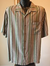 TOMMY BAHAMA Relax 100% Silk BF Multi-Color Striped SS Mens Large L Camp... - $15.89
