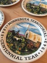 Vintage 40s Minnesota Territorial/Centennial 1849-1949 tin 4 coaster set