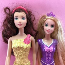 Barbie LOT OF 2 DISNEY PRINCESS DOLLS Beauty Belle & Tangled Rapunzel DL54 - $5.50
