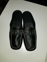COACH Black Antoinette Flower Detail  Leather Slip On Casual Loafers  6.5 - $27.99