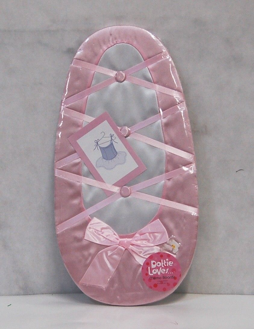 Dottie Loves Pink White Ballet Shoe Memo Board 18 Inches
