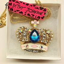 Betsy Johnson Inlay Green Sapphire Crystal Crown Pendant - $21.00
